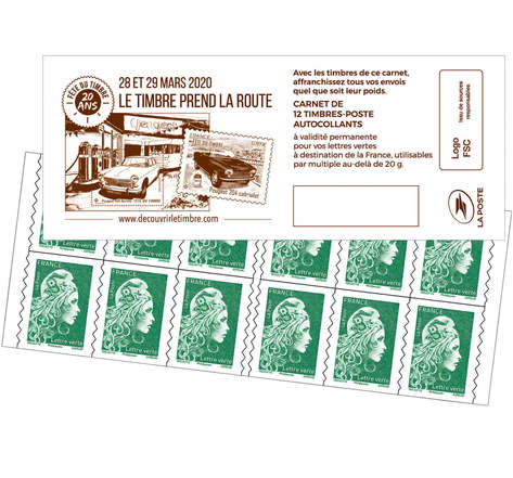 Carnet 12 timbres Marianne l'engagée - Lettre Verte - Fête du timbre