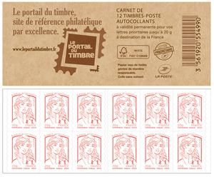 carnet de 12 timbres marianne rouge couverture portail du timbre boutique particuliers la. Black Bedroom Furniture Sets. Home Design Ideas