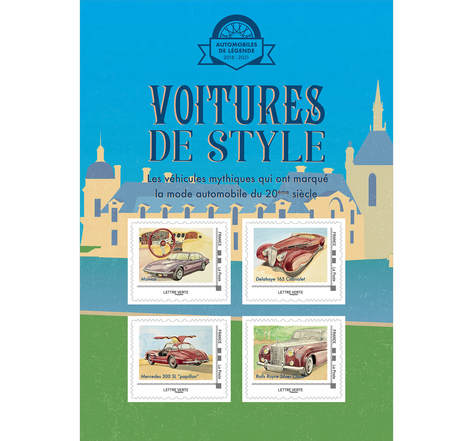 Collector 4 timbres - Voitures de style - Chantilly - lettre Verte