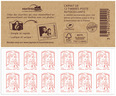 Carnet de 12 timbres Marianne - Rouge - Couverture MonTimbraMoi