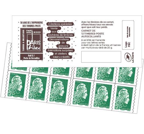 Carnet 12 timbres Marianne l'engagée - Lettre Verte - Paris Philex