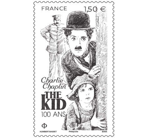 Timbre - Chaplin -The Kid - Lettre Prioritaire - International