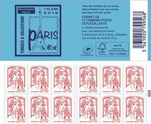 Carnet de 12 timbres Marianne - Rouge - Couverture Salon Philex 2018
