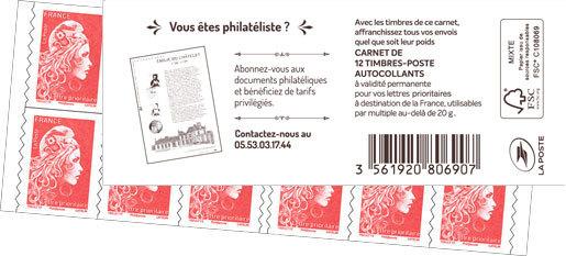 Carnet de 12 timbres Marianne l'engagée - Rouge - Couverture Abonnement documents philatéliques