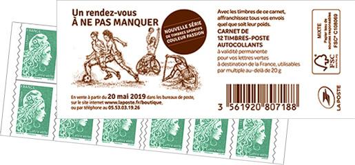 Carnet de 12 timbres Marianne l'engagée - Vert - Couverture Timbres sportifs