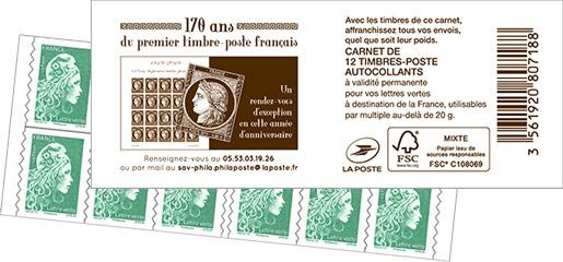 Carnet de 12 timbres Marianne l'engagée - Vert - Couverture 170 ans du premier timbre-poste français