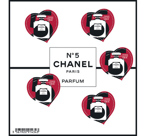 Bloc 5 timbres cœur - Chanel - Lettre Verte