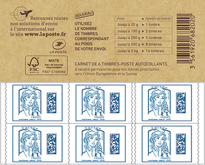 Carnet de 6 timbres Marianne 2016 - Europe