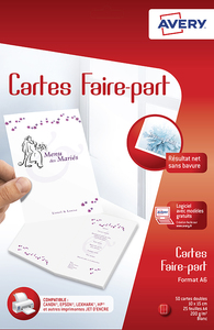 Lot de 50 cartes faire-part blanches A6 - Jet d'encre - C2361-20