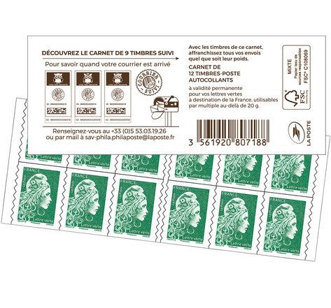 Lettre Verte - Couverture Carnet de timbres suivis