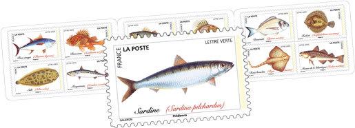 Carnet - Poissons de mer - 12 timbres autocollants
