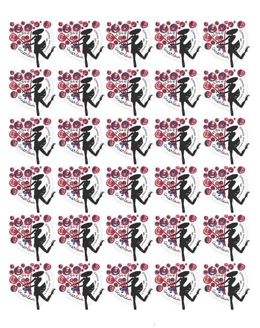 Feuille 30 timbres Coeur - Guerlain - 100g - Lettre verte