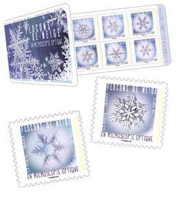 Carnet - Flocons de neige - 12 timbres autocollants