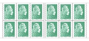 Carnet de 12 timbres Marianne l'engagée - Vert
