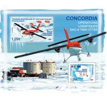Bloc 2 timbres TAAF - Twin Otter à Concordia