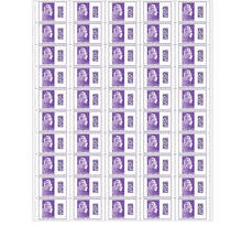Feuille 50 timbres Marianne l'engagée - International - Violet
