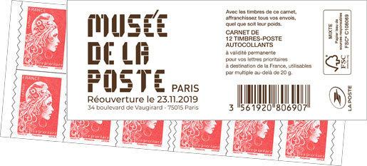 Carnet de 12 timbres  Couverture Réouverture du Musée de La Poste