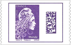 Feuille de 50 timbres Marianne l'engagée - violet - Monde