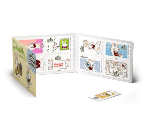 Carnet 12 timbres - The Lapins Crétins - Dans ta BWAAAHTE aux lettres - Lettre Verte