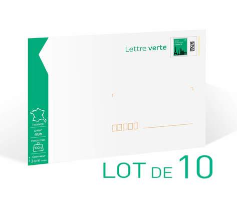 Enveloppes préaffranchies en Lot de 10– Lettre Verte - 100g - Format C5