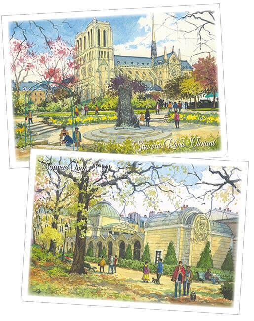 Lot De 6 Cartes Postales Hiver Squares Et Jardins De