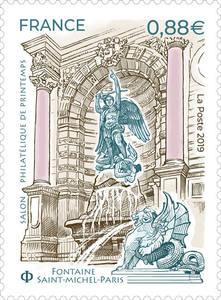 Timbre - Salon Philatélique de Printemps - Fontaine Saint Michel - Paris