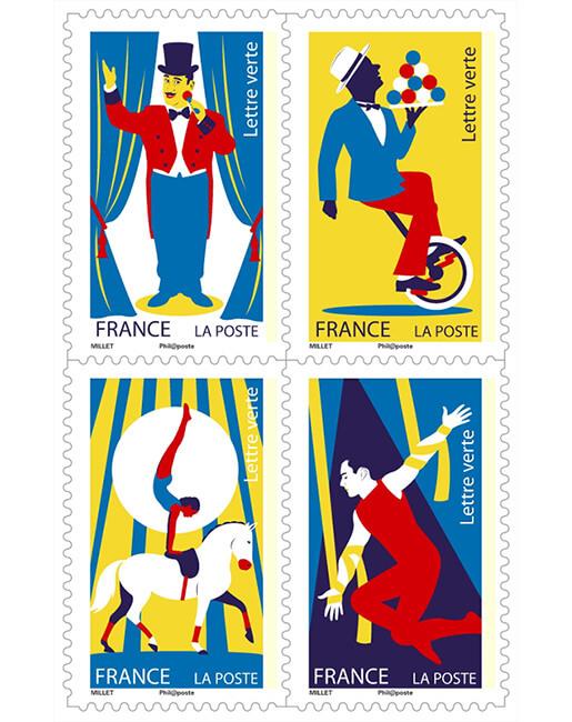 carnet les arts du cirque 12 timbres autocollants boutique particuliers la poste. Black Bedroom Furniture Sets. Home Design Ideas