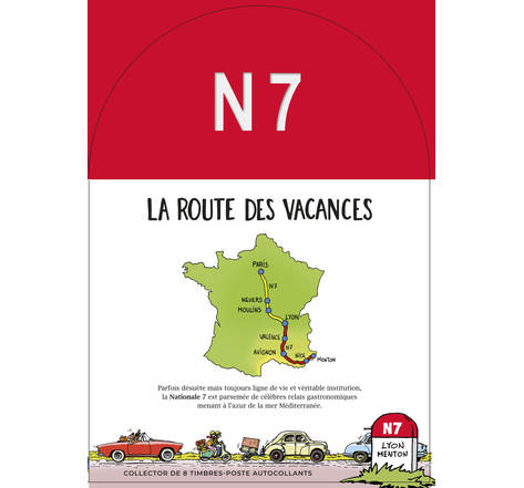 Collector 8 timbres - Nationale 7 - Lyon - Menton - Lettre Verte