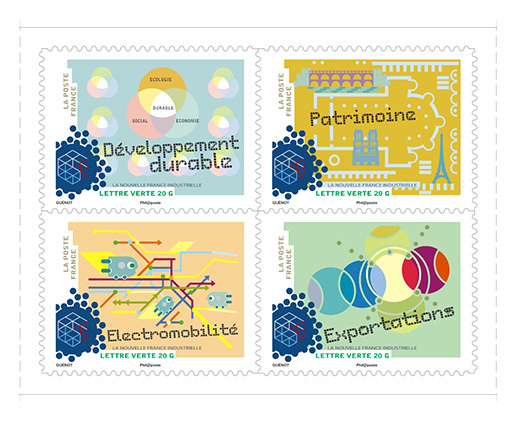 carnet la nouvelle france industrielle 12 timbres autocollants boutique particuliers la poste. Black Bedroom Furniture Sets. Home Design Ideas