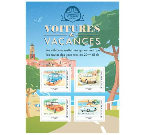 Collector 4 timbres - Voitures et Vacances - Mer - Lettre Verte