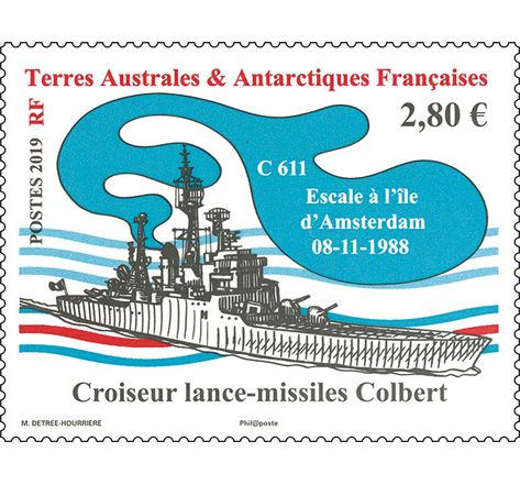 Timbre - TAAF - Bateau croiseur lance-missiles Colbert