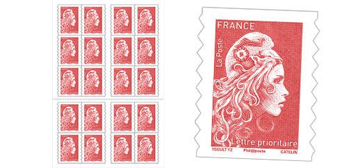 Carnet de 20 timbres Marianne l'engagée Rouge - Lettre prioritaire