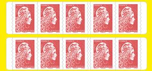 Carnet de 10 timbres Marianne l'engagée - Rouge