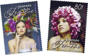Polynésie Française - Journée de la Femme - Lot de 2 timbres