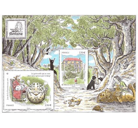 Bloc 2 timbres - Jean de La Fontaine - Lettre Verte