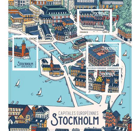 Bloc 4 timbres - Capitales Européennes - Stockholm - International