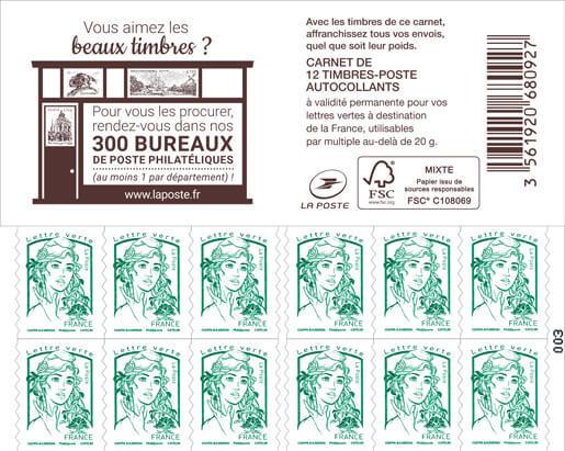 Carnet de 12 timbres Marianne - Vert - Couverture Bureaux Philatéliques