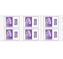 Carnet 6 timbres Marianne l'engagée - International - Violet
