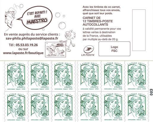 Carnet de 12 timbres Marianne - Vert - Hello Maestro