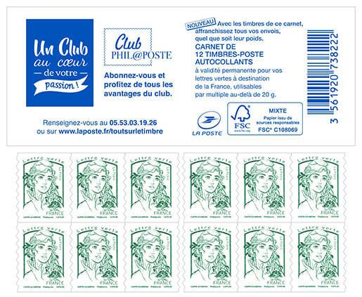 carnet de 12 timbres marianne vert couverture club philaposte boutique particuliers la poste. Black Bedroom Furniture Sets. Home Design Ideas