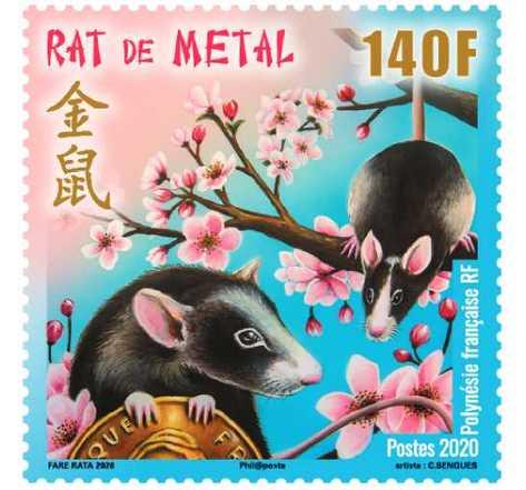 Timbre - Polynésie Française - Horoscope chinois - Le rat