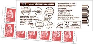 Carnet de 12 timbres Marianne l'engagée - Rouge - Couverture Service National de l'Adresse de La Poste