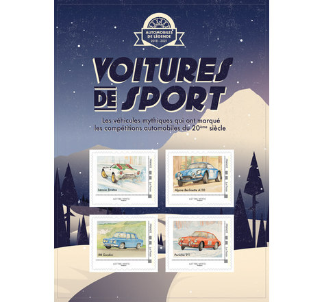 Collector 4 timbres - Voitures de sport - Rallyes Hiver - Lettre verte