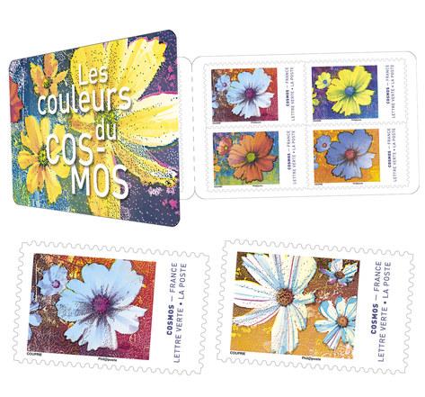 Carnet 12 timbres - Fleurs Cosmos - Lettre Verte