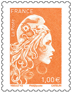 Timbre Marianne l'engagée - Orange - 1€