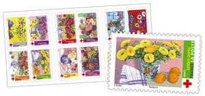 Carnet - La Croix Rouge Française - Offrez ces fleurs - 10 timbres autocollants