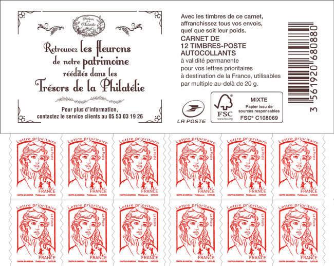 carnet de 12 timbres marianne rouge couverture tr sors de la philat lie boutique. Black Bedroom Furniture Sets. Home Design Ideas
