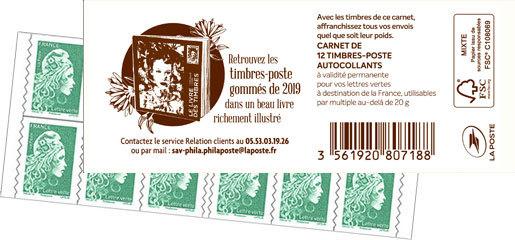 Carnet de 12 timbres Marianne l'engagée - Vert - Livre des timbres