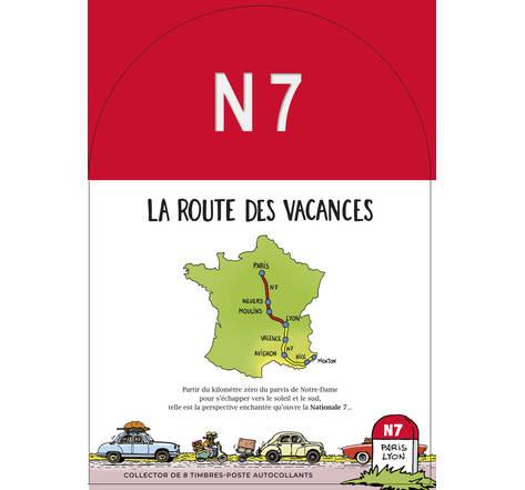 Collector 8 timbres - Nationale 7 - Paris - Lyon - Lettre Verte