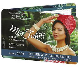 Polynésie Française - Carnet Miss Tahiti 2019 - 6 timbres autocollants